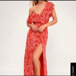 amuse society red floral asymmetrical maxi dress